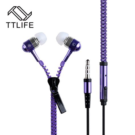 Headset Zipper Earphone Resleting Mic 1 ttlife new design bass stereo metal zipper headphone earphone microphone with sport