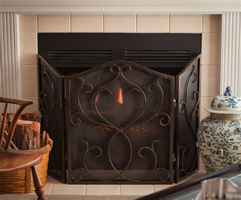 bronze flare scroll mesh firescreen home decor