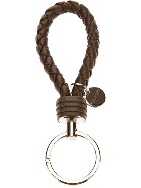 Bottega Veneta Mini Purse Key Ring by Bottega Veneta Intrecciato Woven Key Ring In Brown For