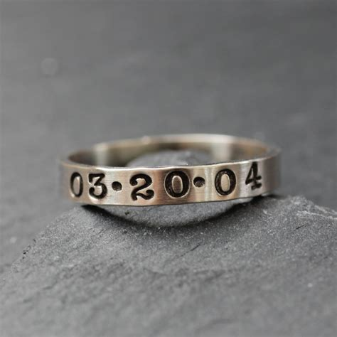 personalized sterling silver ring handsted date ring