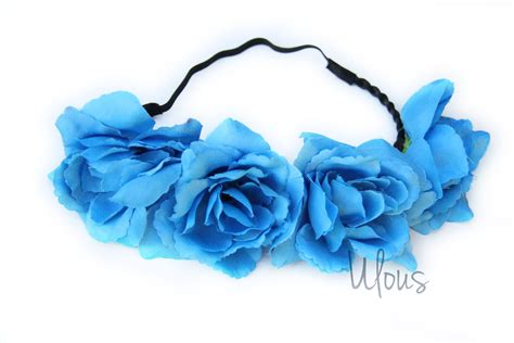 Hairband With Crown A42777 Blue blue flower crown flower crown flower headband coachella
