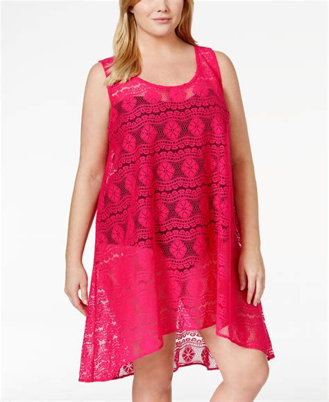 Crochet Lace Cover Up lyst gottex plus size crochet lace cover up dress in