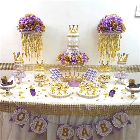 Purple Baby Shower Centerpieces Ideas by Lavender And Gold Baby Shower Buffet Centerpiece