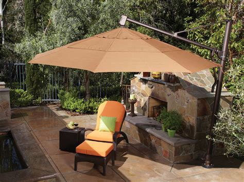 Treasure Garden Patio Umbrellas Treasure Garden Ship Cantilever Aluminum 11 Foot Wide Crank Lift Tilt Lock Umbrella