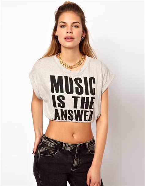 Crop Shirt glamorous crop t shirt in gray lyst