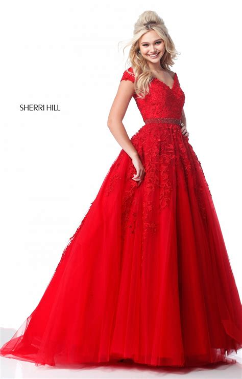 sherri hill  long  neck tulle ball gown prom dress
