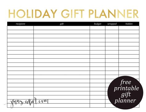 planning cards template printable gift planner and card list