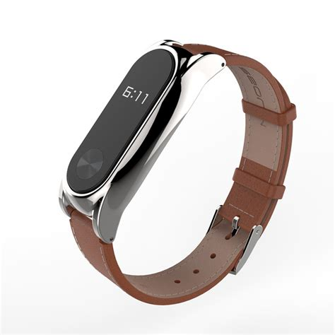 Mijobs Leather For Mi Band 2 Oled Original wrist straps screwless bracelet mi band 2 replace accessories