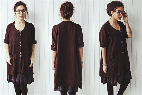 Rania Tunic 2 rania rowan tree second brown linen tunic h m