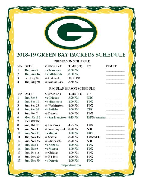 Printable Green Bay Packers Schedule 2018 printable 2018 2019 green bay packers schedule