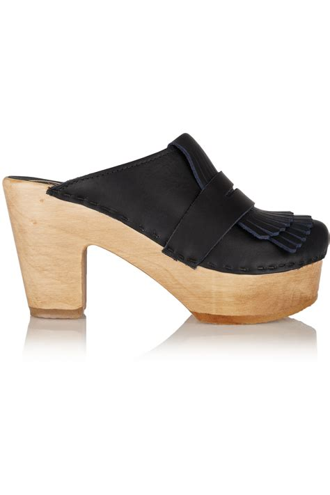 no 6 shoes no 6 leather clogs midnight blue in blue lyst