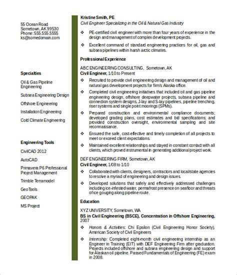 Resume Format Pdf For Engineering by 16 Civil Engineer Resume Templates Free Samples Psd