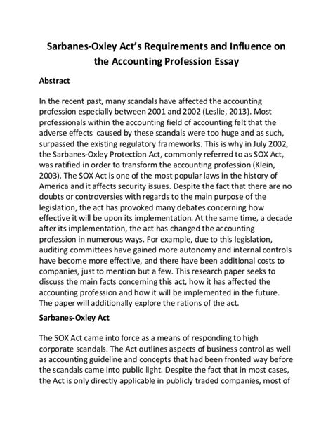 Accounting Essays by Sarbanes Oxley Act S Requirements And Influence On The Accounting Pro