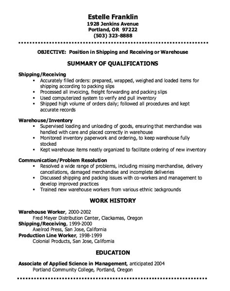 data warehouse resume sle exles of resumes warehouse resume sles free