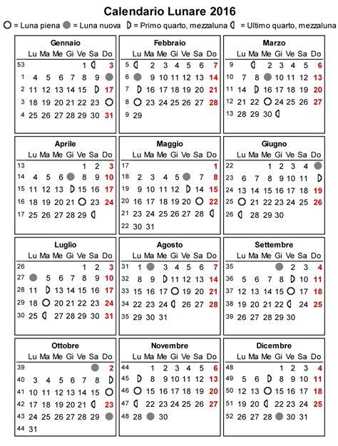 Calendario N Settimane Calendario Lunare 2016 La Gravidanza