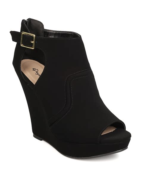 new qupid 156 nubuck peep toe cut out platform