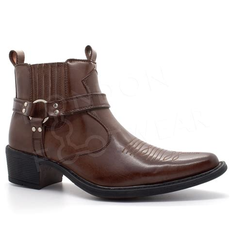 New Heel Boot Coboy new mens western cowboy ankle boots cuban heel slip on