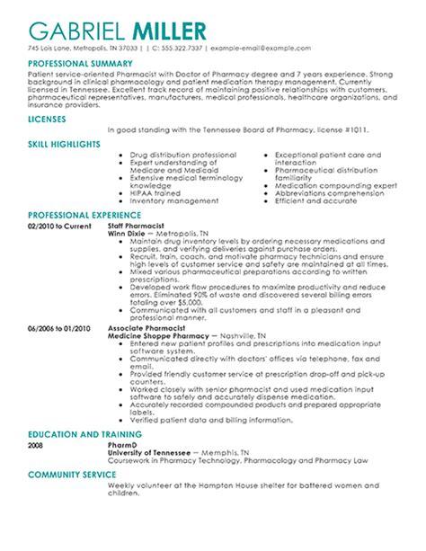 Pharmacist Resume Builder by Pharmacist Resume Exles Sle Resumes