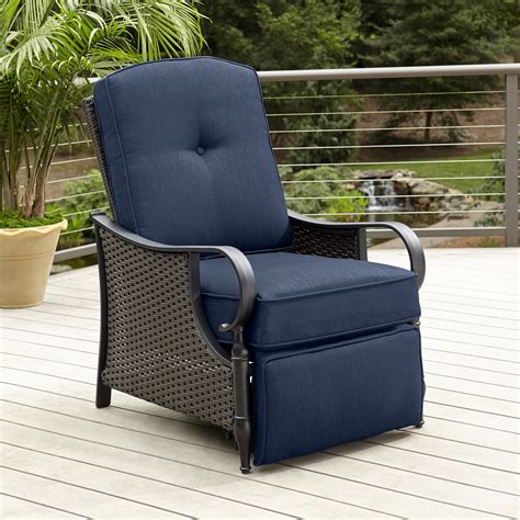 patio furniture recliner la z boy outdoor recliner blue