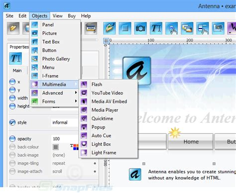 antenna web design studio screenshot and at snapfiles
