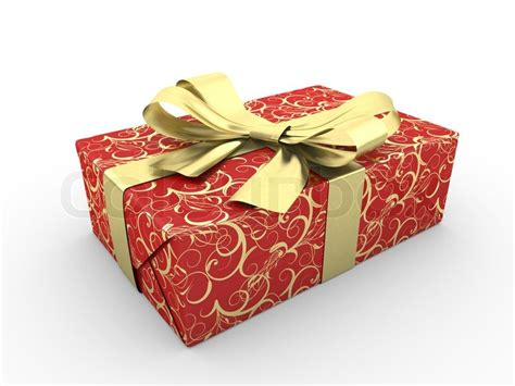 red gift box fancy bow gold stripe  stars  red