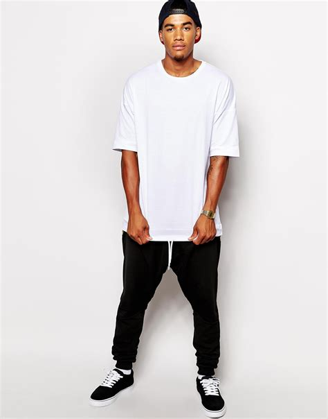 Tshirt Longline Leather Oveersized asos longline t shirt with drawstring woven hem panel and oversized fit in white for lyst