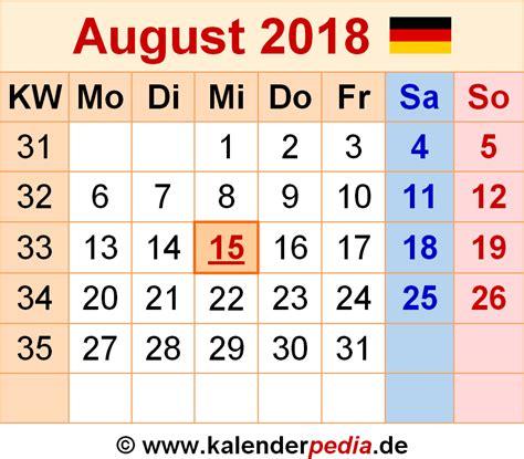 Kalender 2018 August Und September Kalender August 2018 Als Pdf Vorlagen