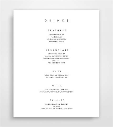 wedding drink menu template 21 exles of wedding menus