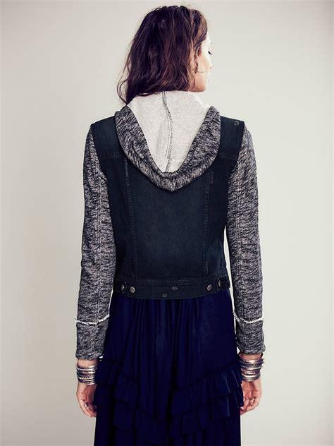 knit hooded denim jacket free knit hooded denim jacket in black lyst