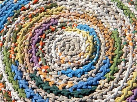 how to crochet a rag rug from t shirts large vintage crochet rag rug soft thick cotton knit t shirt fabric