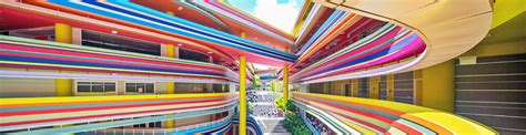 Office Canteen Design colorful singapore school like a rainbow colored lollipop