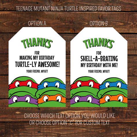 ninja turtles printable name tags teenage mutant ninja turtle inspired favor tags by