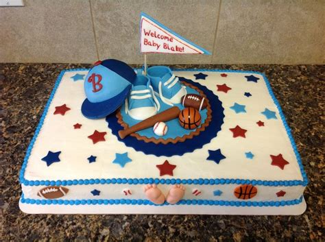 Sports Theme Baby Shower Cake by Sports Theme Baby Shower Cake My Cakes