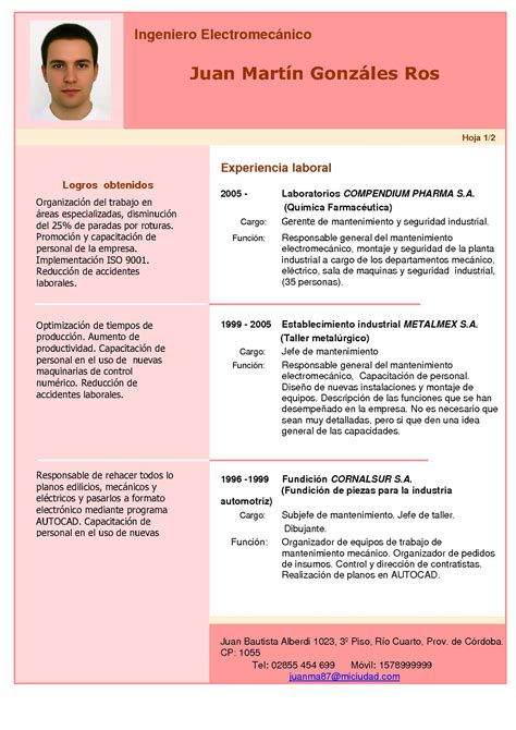 Modelo Curriculum 2014 España Giz Images Curriculum Post 6
