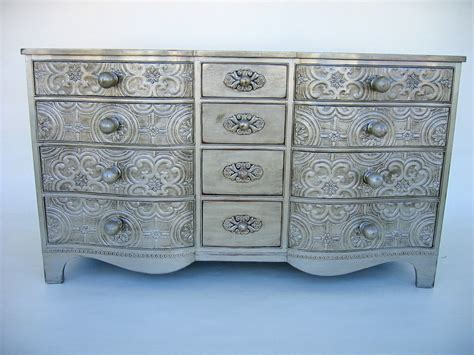 vintage dresser with antique silver finish