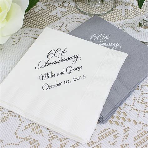 Wedding Anniversary Napkins by Custom Printed 60th Wedding Anniversary Cocktail Napkins