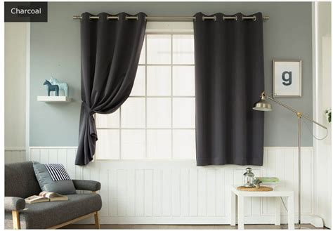small blackout curtains charcoal solid small blackout curtains grommet top