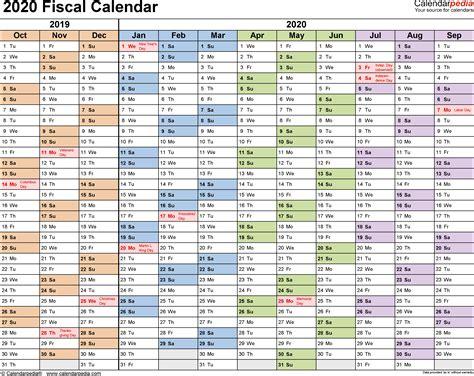 fiscal calendar fiscal calendars 2020 as free printable pdf templates