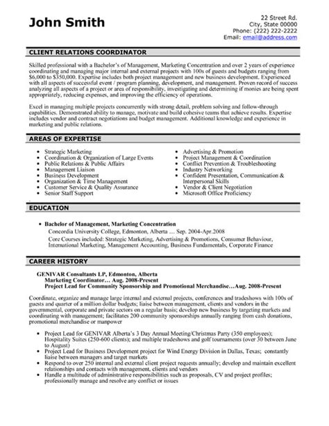 Client Project Manager Sle Resume by Client Relations Coordinator Resume Template Premium Resume Sles Exle