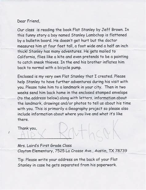 cover letter for stanley flat stanley letter 25 best ideas about flat stanley on