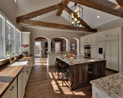 beautiful  tone kitchen  vaulted ceiling beams