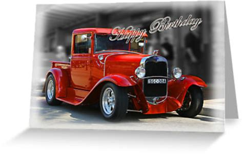Birthday Card Car Quot Red Car Birthday Card Quot Greeting Cards By Picketty Redbubble