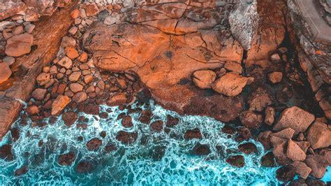 aerial view  rocky coastline bondi beach  south