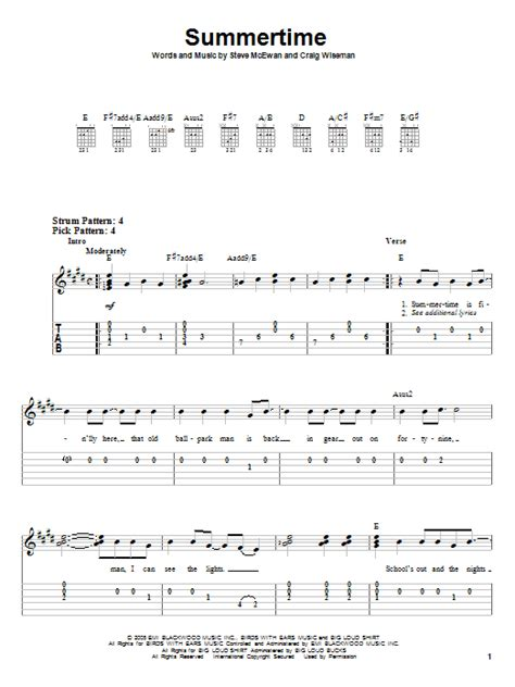 Summertime Chords Guitar