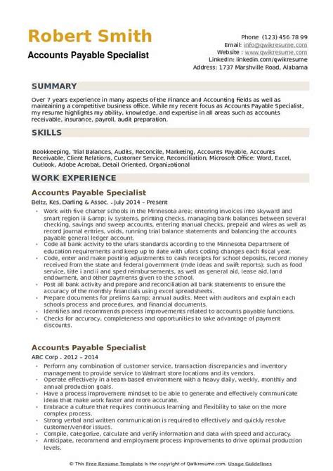 Accounts Payable Specialist Resume by Accounts Payable Specialist Resume Sles Qwikresume