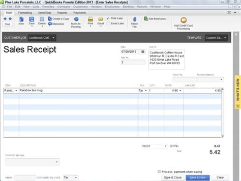 quickbooks receipt printer template how to record a sales receipt in quickbooks 2013 dummies