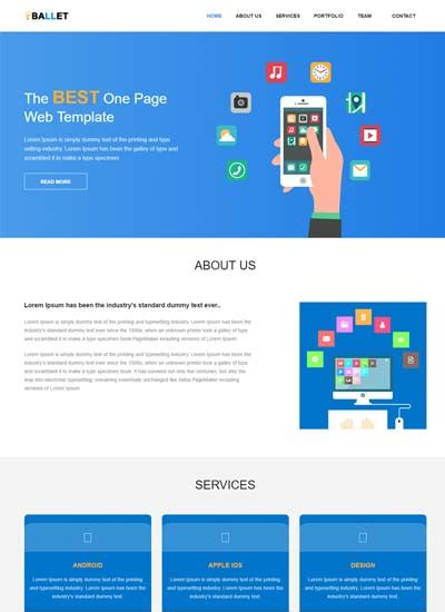 One Page Free Website Template By Webthemez 2 Page Website Template