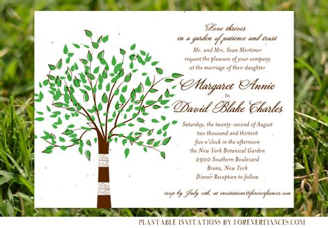 Tree Themed Wedding Invitations by Tree Themed Wedding Cards On Seeded Paper Green Tree By