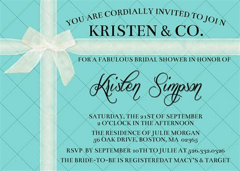 tiffany inspired custom invitation birthday bridal