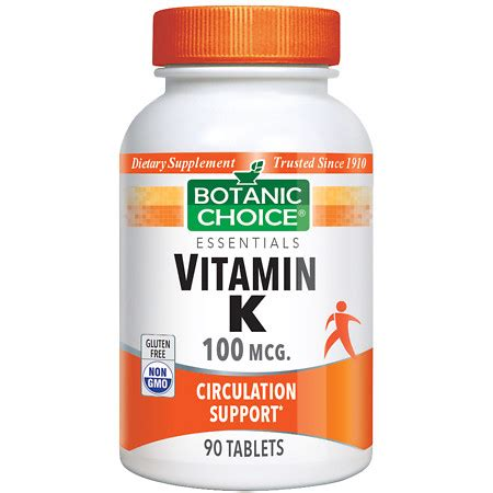 s k supplements botanic choice vitamin k 100 mcg dietary supplement